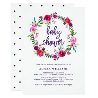 Vibrant Floral   Baby Shower Invitation