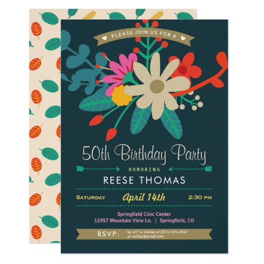 Vibrant Floral Birthday Party Invitation
