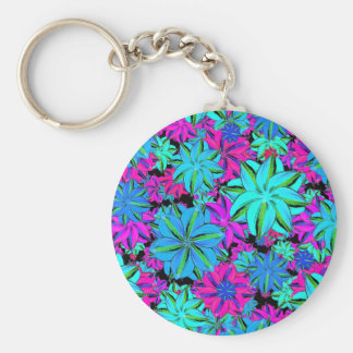 Vibrant Floral Collage Basic Round Button Keychain