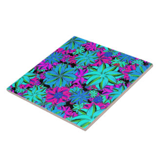 Vibrant Floral Collage Ceramic Tiles