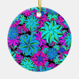 Vibrant Floral Collage Round Ceramic Ornament