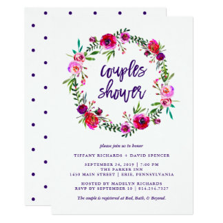 Vibrant Floral   Couples Shower Invitation
