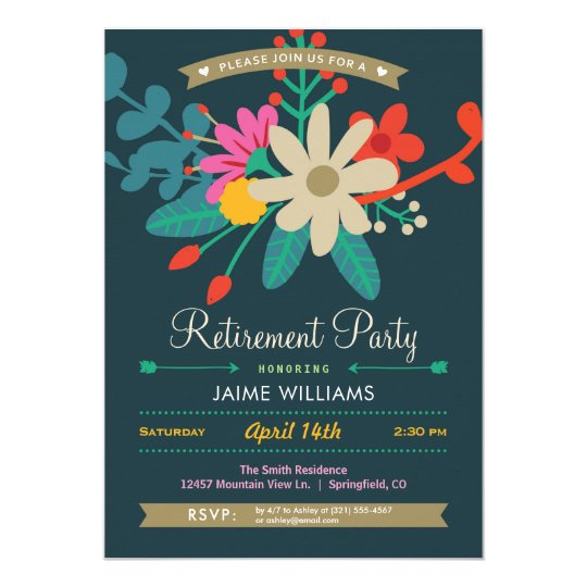 Vibrant Floral Retirement Party Invitation