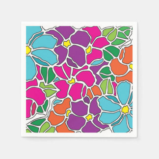 Vibrant Floral Stained Glass Paper Napkins