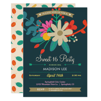 Vibrant Floral Sweet 16 Party Invitation