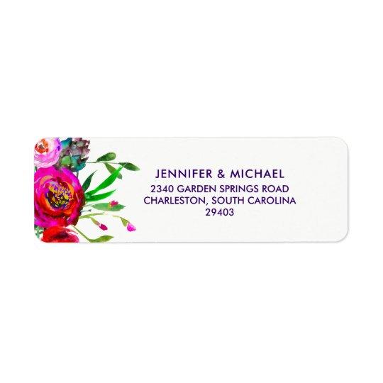 Vibrant Floral   Watercolor Wedding Return Address Label