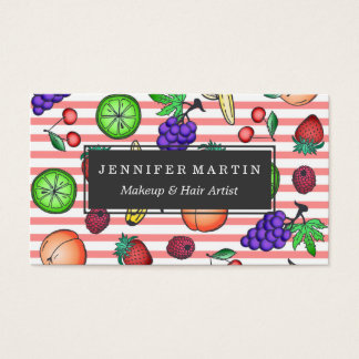 Vibrant Fruit Cocktail Illustrations on Stripes Business Card