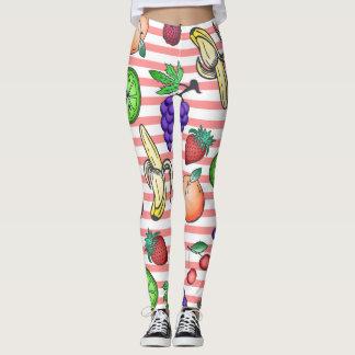 Vibrant Fruit Cocktail Illustrations on Stripes Leggings