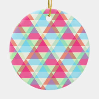 Vibrant Geometric - Arrow Triangle Pattern Round Ceramic Ornament