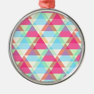 Vibrant Geometric - Arrow Triangle Pattern Silver-Colored Round Ornament