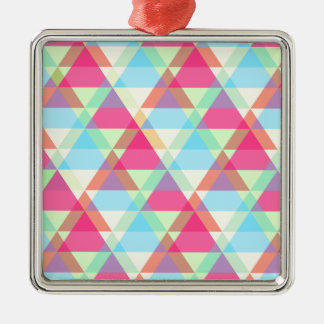 Vibrant Geometric - Arrow Triangle Pattern Silver-Colored Square Ornament