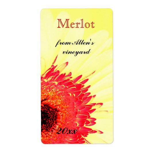 vibrant gerbera daisy wine bottle label shipping label