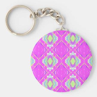 Vibrant Girly Hot Neon Pastel Pink Basic Round Button Keychain