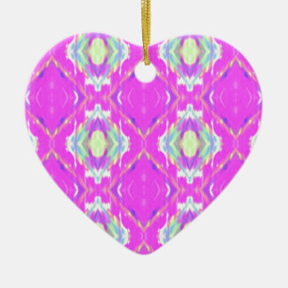 Vibrant Girly Hot Neon Pastel Pink Ceramic Heart Ornament