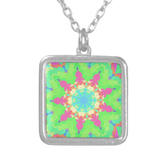 Vibrant Girly Pastel Kaleidescope Mandela Shape Silver Plated Necklace