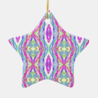 Vibrant Girly Spring Pastel Tribal Pattern Ceramic Star Ornament