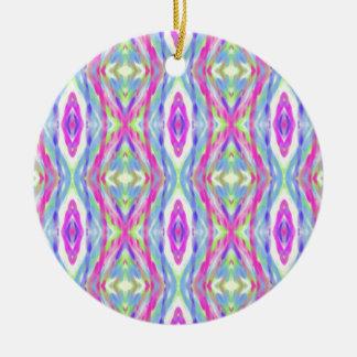 Vibrant Girly Spring Pastel Tribal Pattern Round Ceramic Ornament