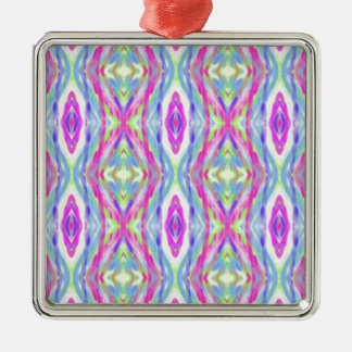 Vibrant Girly Spring Pastel Tribal Pattern Silver-Colored Square Ornament