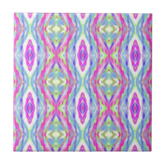 Vibrant Girly Spring Pastel Tribal Pattern Tiles