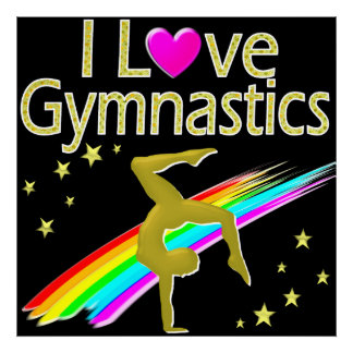 VIBRANT GOLD I LOVE GYMNASTICS DESIGN POSTER