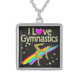 VIBRANT GOLD I LOVE GYMNASTICS DESIGN STERLING SILVER NECKLACE