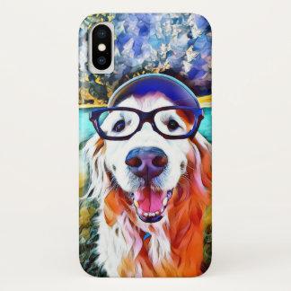 Vibrant Golden Retriever Nerd Glasses Painting Case-Mate iPhone Case