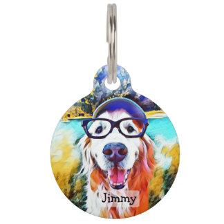 Vibrant Golden Retriever Nerd Glasses Painting Pet Name Tag