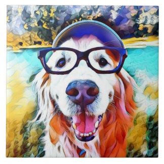 Vibrant Golden Retriever Nerd Glasses Painting Tile