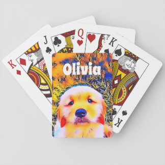 Vibrant Golden Retriever Puppy Psychedelic Art Playing Cards