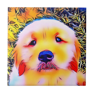 Vibrant Golden Retriever Puppy Psychedelic Art Tile