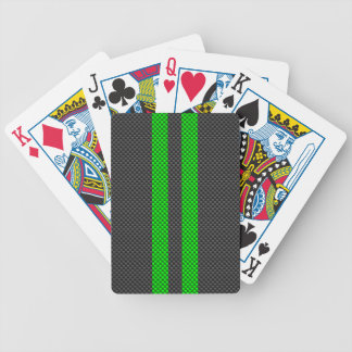 Vibrant Green Carbon Fiber Style Racing Stripes Bicycle Playing Cards