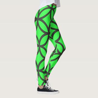 Vibrant Green Circle Pattern Leggings