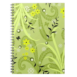 Vibrant green floral print on spiral notebook