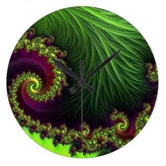 Vibrant green purple 3D abstract art clock