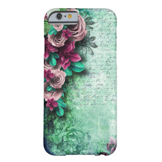 Vibrant Green & Purple Roses 3D vintage script Barely There iPhone 6 Case