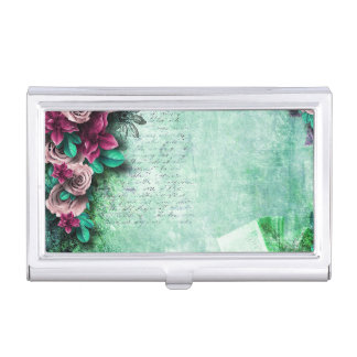 Vibrant Green & Purple Roses 3D vintage script Business Card Holder