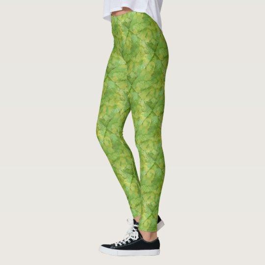 Vibrant Green Watercolor Design Leggings