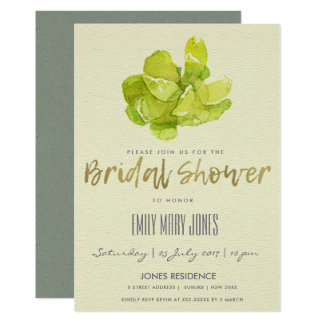 VIBRANT GREEN WATERCOLOR SUCCULENT BRIDAL SHOWER CARD