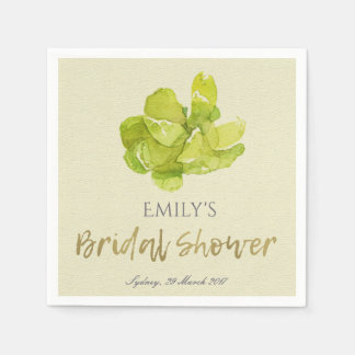 VIBRANT GREEN WATERCOLOR SUCCULENT BRIDAL SHOWER DISPOSABLE NAPKINS