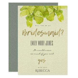 VIBRANT GREEN WATERCOLOR SUCCULENT BRIDESMAID CARD