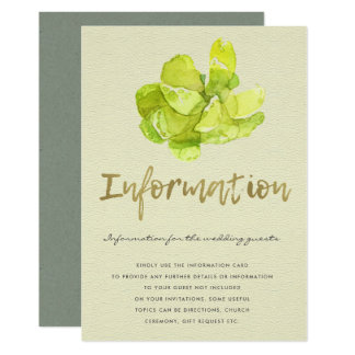 VIBRANT GREEN WATERCOLOR SUCCULENT INFORMATION CARD