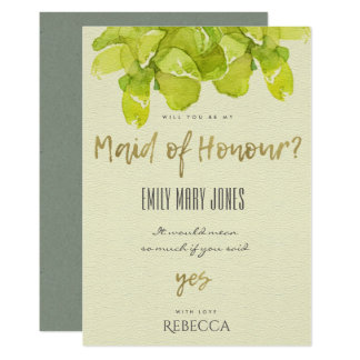 VIBRANT GREEN WATERCOLOR SUCCULENT MAID OF HONOR CARD