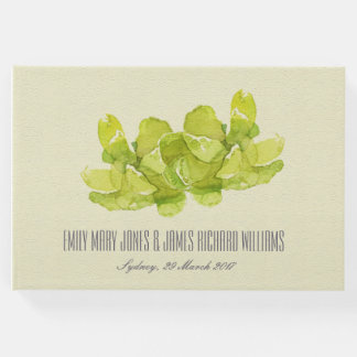 VIBRANT GREEN WATERCOLOR SUCCULENT PERSONALIZED GUEST BOOK