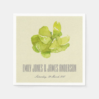 VIBRANT GREEN WATERCOLOR SUCCULENT PERSONALIZED PAPER NAPKIN