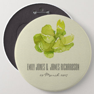 VIBRANT GREEN WATERCOLOR SUCCULENT WEDDING 6 INCH ROUND BUTTON