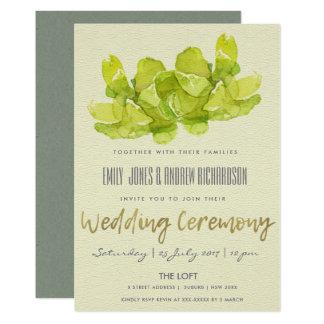 VIBRANT GREEN WATERCOLOR SUCCULENT WEDDING CARD