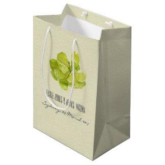 VIBRANT GREEN WATERCOLOR SUCCULENT WEDDING MEDIUM GIFT BAG