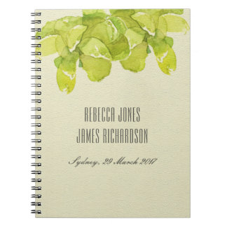 VIBRANT GREEN WATERCOLOR SUCCULENT WEDDING NOTEBOOKS
