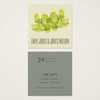 VIBRANT GREEN WATERCOLOR SUCCULENT WEDDING SQUARE BUSINESS CARD