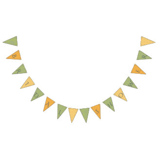 VIBRANT GREEN WATERCOLOUR FERN FOLIAGE MONOGRAM BUNTING FLAGS
